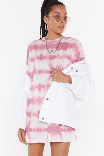 Womens Rose Tie Dye Oversize T-Shirt Dress