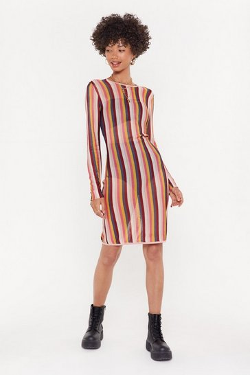 Womens Pink Multi-Stripe Longsleeve Midaxi Dress