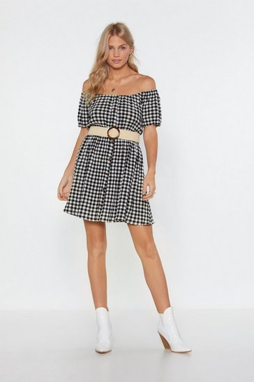 Womens Black Button Be Summer Gingham Of-the-Shoulder Dress