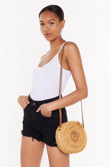 Natural Crossbody Wicker Bag with Faux Leather Shoulder Strap