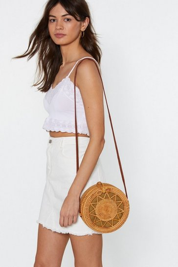 Womens Natural WANT Make a Head Star-t Wicker Crossbody Bag