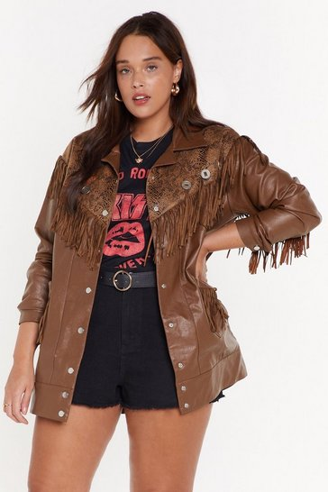 Womens Brown Fringe Binge Snake Plus Jacket