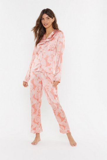 Womens Coral Feeling Slazy Satin Paisley Pajama Set
