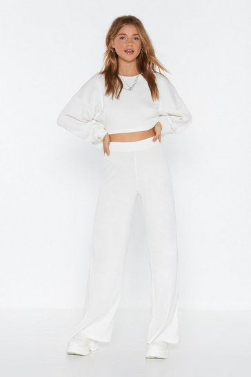 Womens Cream Let Loose Wide-Leg Joggers