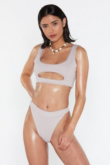 Womens Grey Making the Cut-Out Crinkle Bikini Set
