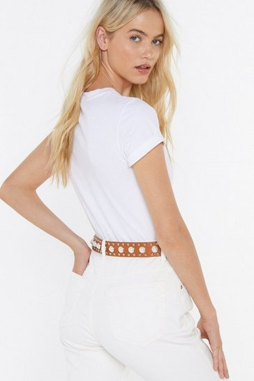 Womens Tan Pearl-ing on the Dancefloor Faux Leather Belt