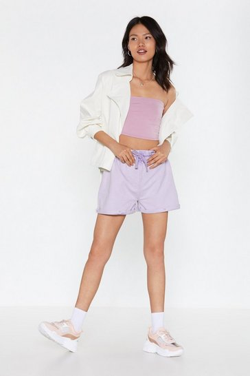 Womens Lilac Acid Wash Me Go Relaxed Shorts