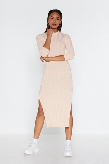 Womens Nude Slit Your Stide Ribbed Midi Dress