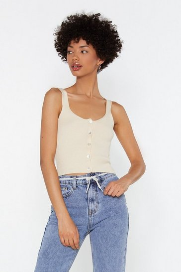 Ecru Mother Of Pearl Rib Knitted Cami Top