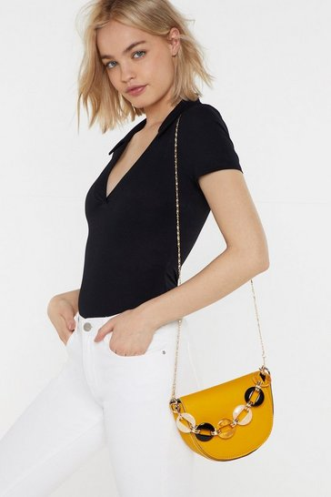 Womens Mustard WANT We Resin Saddle Crossbody Bag