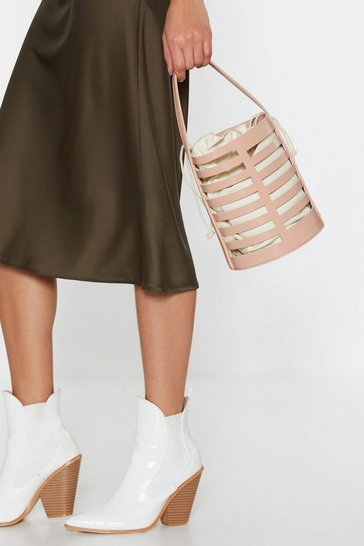 Womens Blush WANT Bucket In Faux Leather Drawstring Bag