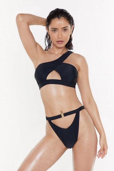 Womens Black Call Me Shallow One Shoulder High-Leg Bikini Set