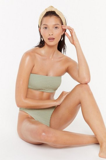Sage Way Up High Shirred Bikini Bottoms