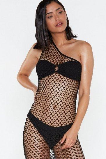 Black You're a Catch One Shoulder Fishnet Dress