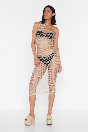 Womens Sand You're a Catch One Shoulder Fishnet Dress