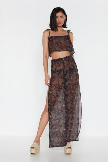 Womens Black Paisley the Consequences Cover-Up Trousers