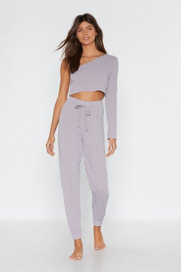 Womens Light grey Jogging the Limelight One Shouler Top and Jogger Lounge Set