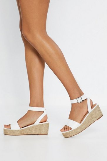 White Espadrille There Be Sun Wedge Sandals