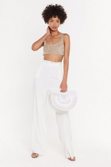 Womens White Eyes Wide Open High Waisted Pants