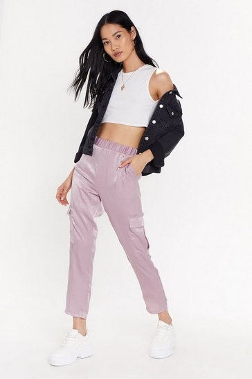 Womens Dusky pink Satin Moment Jogger Trousers