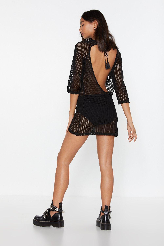Open Knit Open Back Mini Dress