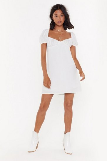 Womens White Cheesecloth Bustier Mini Dress