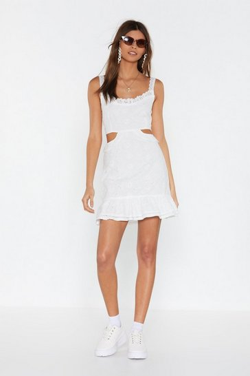 White Cut Out Waist Broderie Mini Dress