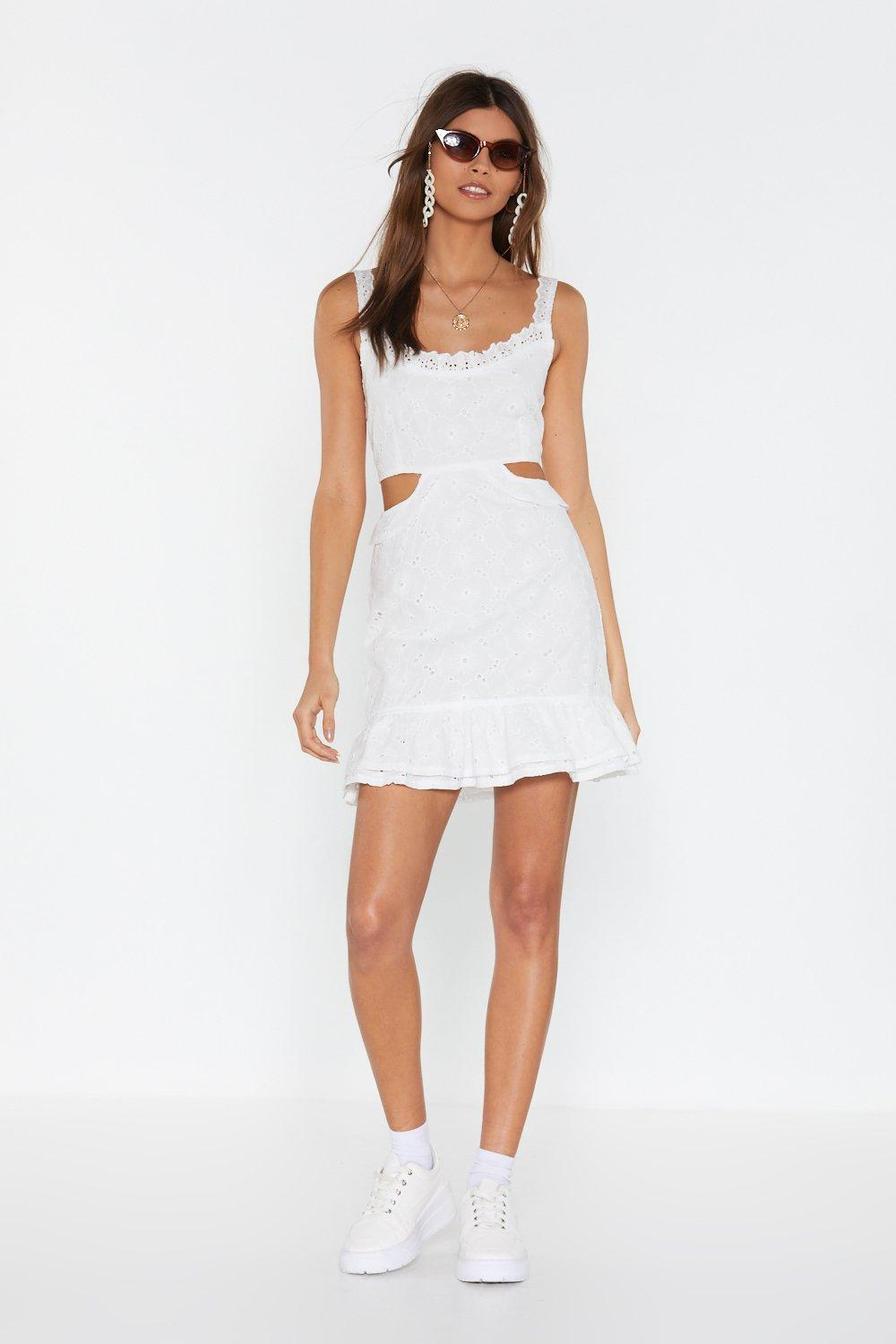 Cut Out Waist Broderie Mini Dress