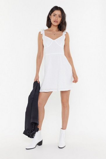 Womens White Say It Ain't Sew Brodierie Anglaise Tie Dress