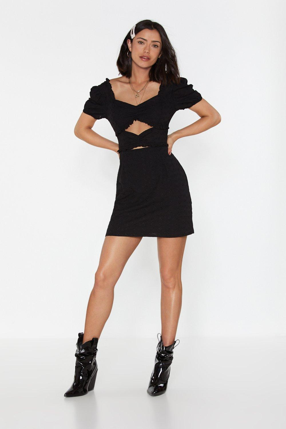 All on Broderie Cut-Out Mini Dress