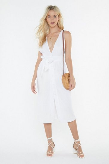 Womens White Broderie Trim Midi Dress