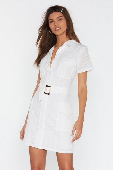 Womens White Broderie Utility Dress