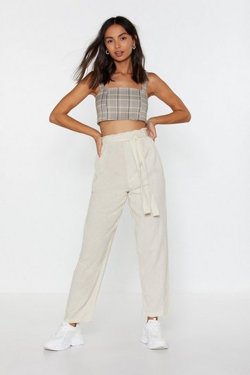 Womens Stone Belted Tapered Trouser