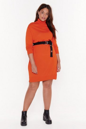 Womens Orange Go For Knit Turtleneck Knit Dress