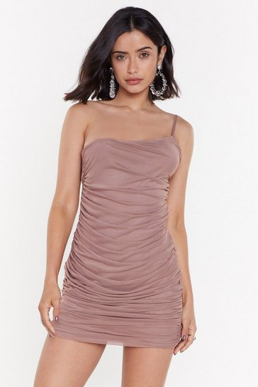 Womens Mocha If You Had My Love Ruched One Shoulder Dress
