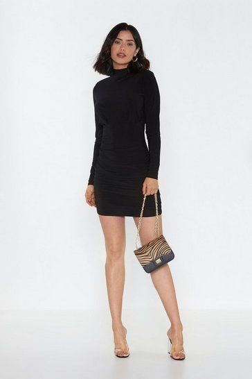 Womens Black Shoulder Pad Gathered Mini Dress