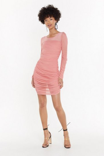Womens Coral Adrenaline Ruche Mesh Mini Dress