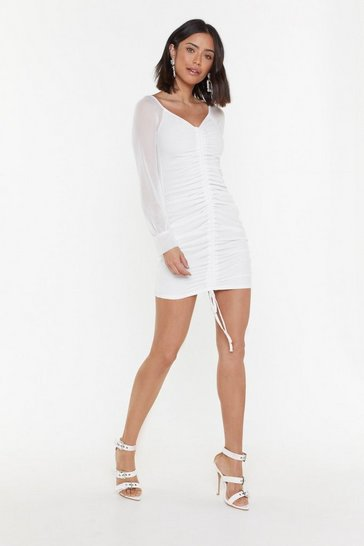 Womens Ivory Time to Sleeve Ruched Mini dress