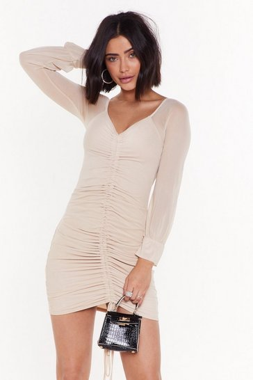 Womens Stone Big Time Ruche Mesh Mini Dress
