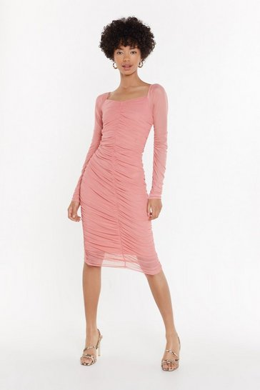 Womens Coral Tell It to My Heart Ruched Midi Dress