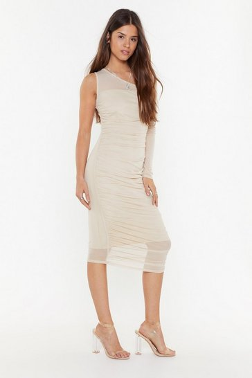 Womens Stone Be the One Shoulder Mesh Midi Dress