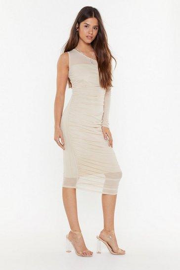 Stone Be the One Shoulder Mesh Midi Dress