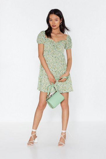 Womens Green Where Love Grows Floral Puff Sleeve Dress