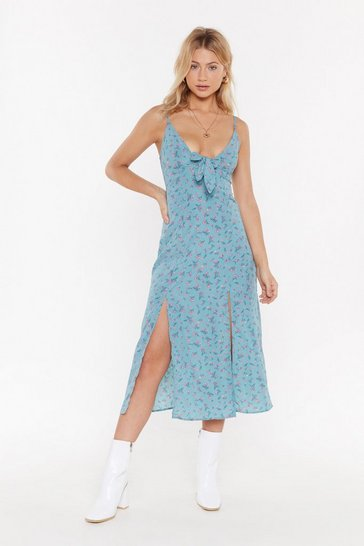 Womens Teal You're Petal That I Want Floral Midi Dress