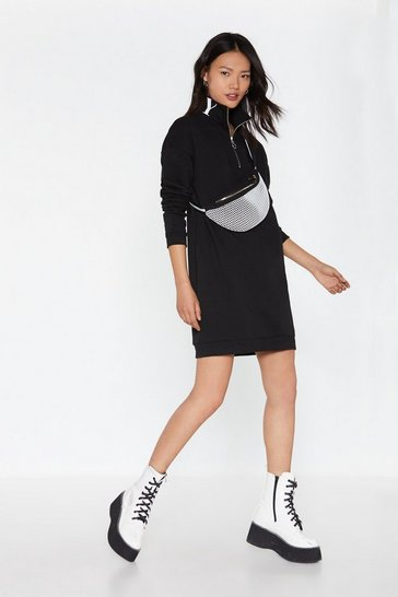 Womens Black Nasty Sweatshirt Zip Dress