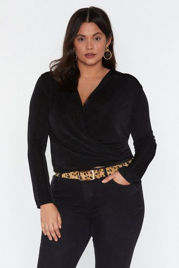 Womens Black Down Town Plunging Wrap Top