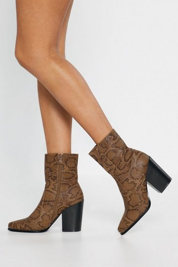 Womens Camel Snake Print Heeled Boots