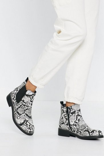 Womens Grey Snake Print Chelsea Boots