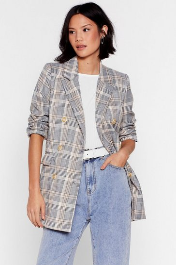 Stone Business Babe Check Relaxed Blazer