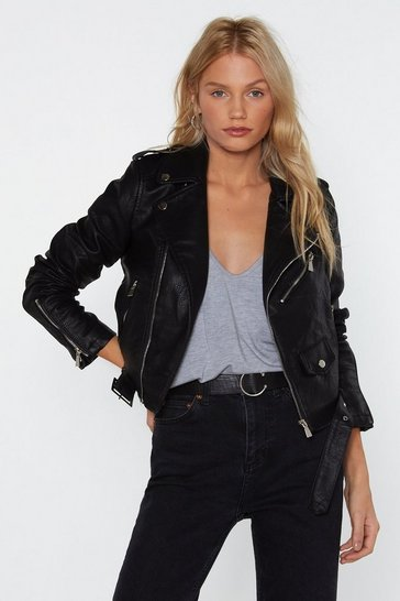 Black Vegan Faux Leather Jacket with Buckle Belt